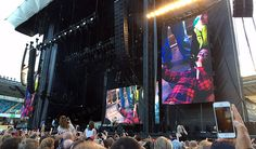 Dave Grohl on a stretcher after falling off the stage. He apologizes and says the Foo Fighters are guaranteed to return.