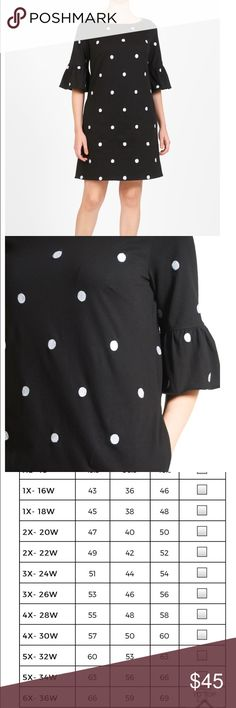 """Eshakti Black knit dress Beautiful bell sleeve black knit dress with embroidered white polka dots. In new condition. Dress is 50"""" long from shoulder to bottom hem eshakti Dresses"""