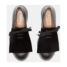 Marni (22 870 UAH) ❤ liked on Polyvore featuring shoes, black brogue shoes, black fringe shoes, black brogues, black lace up shoes and leather fringe shoes