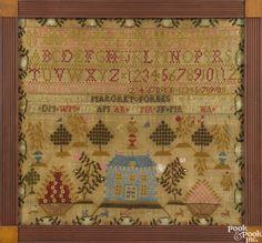 English silk on linen needlework sampler, inscribed Margret Forbes, 16'' x 17''. - Price Estimate: $300 - $400
