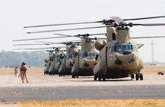 Boeing CH-47F Chinooks on the flight line.