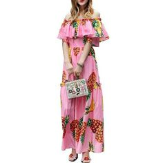 Cheap slash neck, Buy Quality print maxi dress directly from China maxi dress women Suppliers: Boho Sweet Pineapple Print Maxi Dress Women Summer High Waist Off Shoulder Beach Dresses Pink Ruffle Long Vestido Slash Neck