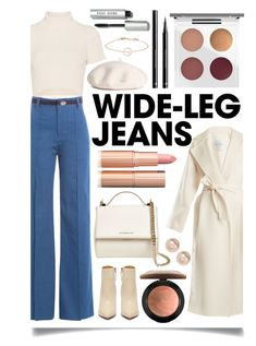 """Flare Up: Wide-Leg Jeans"" by ittie-kittie ❤ liked on Polyvore featuring MaxMara, Bobbi Brown Cosmetics, Marc Jacobs, Staud, Givenchy, MAC Cosmetics, H&M, Nordstrom Rack, denimtrend and widelegjeans"