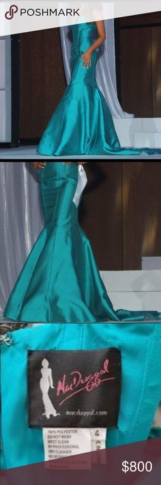 Pageant or Prom gown Stunning Mac Duggal pageant mermaid gown. Beautiful on stage because of its unique color and fit. Worn twice. Placed top 15 at state pageant. Size 4 originally but altered to fit a size 0-2. Willing to negotiate pricing. Mac Duggal Dresses Prom