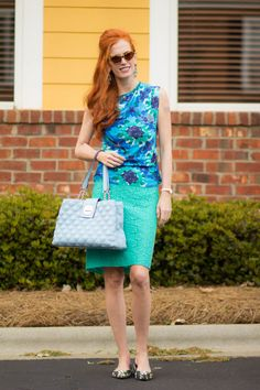 Turning Heads #linkup -Anthropologie Top-Blue- Green Hues and Some Retro Cat-Eyes - Elegantly Dressed & Stylish - Over 40 Fashion Blog