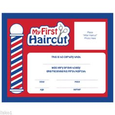 "Barber Shop My First Haircut"" Certificates / 12 Pack 10""W 8 H #SC-MFH"