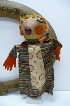 Vintage Paper Mache Puppet Clown Man hand Toy by MySeriousSide, $36.00