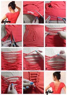 – Altes Tshirt hernehmen – Kragen wegschneiden – am Rücken ein V einzeichnen – mit der Schere ca 1cm-Streifen entlang des V's schneiden – einzelne Streifen zwisc…
