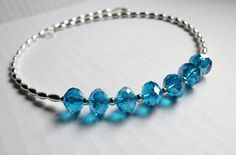 Sparkling Blue Swarovsky Crystal and Silver Plated Necklace by GypsyDreamerCafe, $16.50