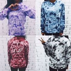 Women Hoodies Ladies Tie Dye Elephant Printed Crew Neck Sweatshirt Tops T-Shirt