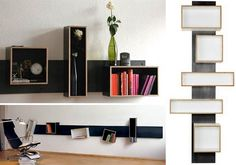 Beautiful Unique DVD Storage Ideas To Keep Your Room Well-organized : Adorable Black Unique DVD Storage Ideas Using Floating Design Mounted ...