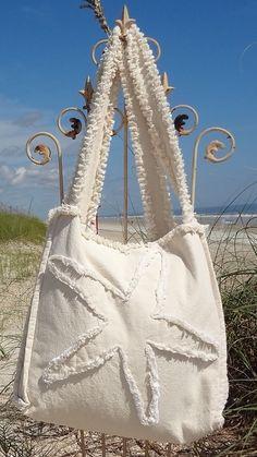 Sea Beach Bag - Starfish Ivory on Ivory