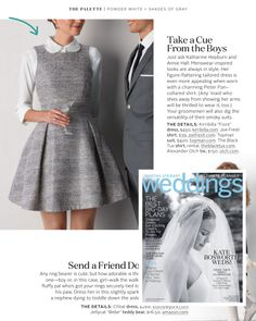 We love the menswear-inspired styling of our Fiore dress in Martha Stewart Weddings!   Shown here in silver silk metallic tweed, it's also available in white lace, champagne metallic and more!   http://shop.kirribilla.com/collections/i-do-little-white-dress-collection/products/fiore-dress-i-do  #lwd #kirribilla #fiore #marthastewartweddings