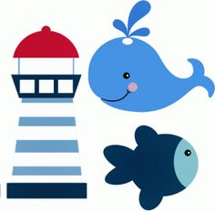View Design: sailor lighthouse fish whale