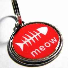 Meow Lead Free Red and White Metal Round ID Cat/Dog Collar Tag...Custom made for your Dog or Cat on Etsy, $13.95
