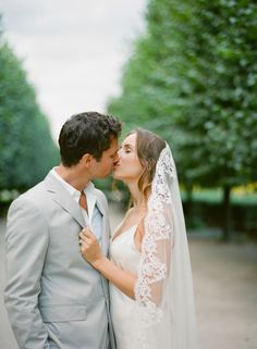 Gown + Veil by Delphine Manivet, Romantic Parisian Wedding by Elisa B. Photography