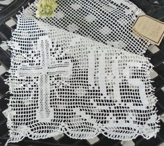 Hand Crocheted Religious Lace Insert Made in by MAISONDELINGE, $12.99