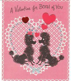 Vintage Valentine Card Black Poodle Dogs 1953 Mid-Century Dog Norcross
