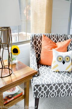 Fall Decorating Ideas - owl + sunflowers: Fall Home Tour 2014 Four Generations One Roof #HomeGoodsHappy
