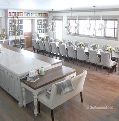 Amazing kitchen with long kitchen table with seating for 20 people - Artful Homestead Dining Room Remodel, Long Kitchen, Cool Kitchens, Dining Room Design, Long Dining Room Tables, Home Decor, Large Dining Room Table, Room Remodeling, Dinning Room Tables