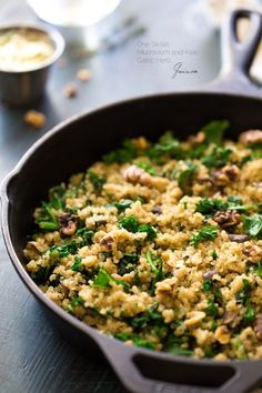 "One Skillet Mushroom and Kale Garlic Herb Quinoa - This one pan, weeknight meal is light healthy and will be a HUGE hit with your family! SUB- vegan butter or use a healthy oil ie olive oil, and use veg broth or use ""No chkn' broth Whole Food Recipes, Vegan Recipes, Dinner Recipes, Cooking Recipes, Dairy Free Quinoa Recipes, Fall Vegetarian Recipes, Garlic Herb Butter, Clean Eating, Healthy Eating"