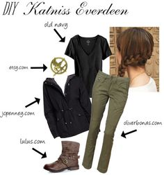 Katniss Everdeen arena costume--I did this for Character Dress-up Day at school! ^-^ I need the sweater and the pin for halloween just thinking WAY ahead for october