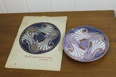 D. Van Looy -  polychrome earthenware plate with design drawing
