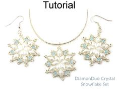 DiamonDuo Crystal Snowflake Winter Holiday Earrings Pendant Necklace Two Hole Beads Jewelry Making Pattern Tutorial by Simple Bead Patterns 07