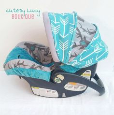 Arrow Deer Boutique Boys Infant Car Seat Carseat Cover, Canopy, Gray Turquoise by CutesyLucyBtq on Etsy https://www.etsy.com/listing/261049866/arrow-deer-boutique-boys-infant-car-seat