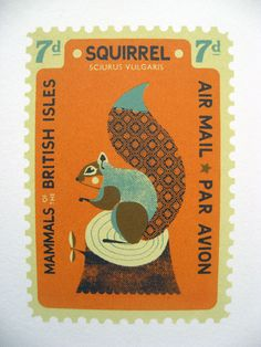 squirrel stamp. love the patterns in these illustrations