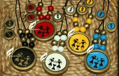 Warli painted terracota pieces