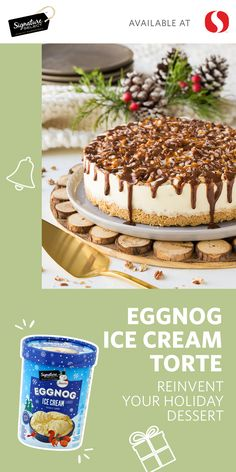 Reinvent your holiday dessert with this decadent and delicious recipe for an Eggnog Ice Cream Torte! Featuring Signature SELECT® Eggnog Ice Cream, this sweet treat is just as gorgeous as it is mouth-watering. Filled with classic seasonal flavors, this Eggnog Torte is sure to be the hit at your next holiday party and will have your friends and family fighting over the last slice. Get all your holiday ingredients at your local Safeway today!