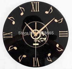 Vintage Vinyl Record Cd Wall Clock Decorative Clock Gramophone Record Home Bar Wall Decor^. The Rustic Clock Hanging Clock, Clock Art, Diy Clock, Clock Decor, Music Clock, Music Wall, Vinyl Record Crafts, Vinyl Record Clock, Record Wall