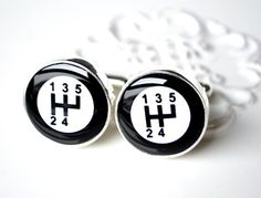 Gear shift cufflinks - gift for him, brother, father, husband, groom, groomsmen for Holiday, birthday, anniversary or wedding. $40.00, via Etsy.