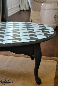 When you see a less than perfect coffee table (in the ReStore), this will help you imagine the possibilities: Sophia's houndstooth coffee table.