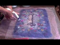 This is a instructional video on how to create felted cobweb scarves using a wet felt technique with wool. Wet Felting Projects, Needle Felting Tutorials, Wool Needle Felting, Nuno Felting, Felted Wool, Felt Diy, Felt Crafts, Do It Yourself Jewelry, Felt Pictures