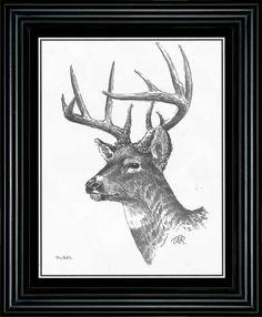 Terry Redlin Deer Pencil Sketch-Framed