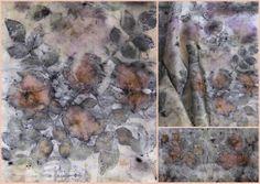 Roses ecoprinted on silk scarf - Sandfisher Textile Dyeing, Textile Fiber Art, Textile Prints, Fabric Painting, Fabric Art, Shibori Fabric, Dyeing Fabric, Textiles Techniques, How To Dye Fabric