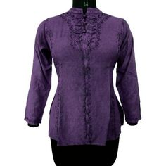 Ibaexports Rayon Violet Embroidered Top Blouse Women Wear Gypsy Tunic Dress Casual India Clothing Size M ibaexports. $30.99