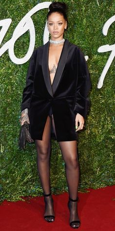 21 Chic Celebrity Looks That Have Us Saying Yes to Tights | InStyle.com Rihanna stole the spotlight at the 2014 British Fashion Awards in an oversize Stella McCartney tuxedo jacket, with nothing else except for stockings, a diamond choker, and ankle-strap sandals.