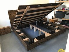 diy Bed Frame floating - Storage bed frame with matching nightstands Platform Bed With Storage, Bed Frame With Storage, Diy Bed Frame, Platform Bed Frame, Under Bed Storage, Lift Storage Bed, Cool Bed Frames, Floating Bed Frame, Bed Designs With Storage