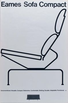 The Eames Sofa Compact, neatly outlined on this vintage poster by #hermanmiller