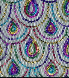 All That Glitters Fabric- Scallop Sequin Mesh Multi On Black