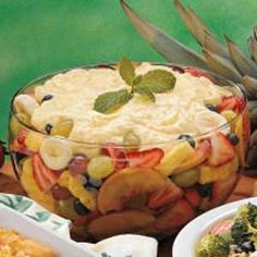 Best Fruit Salad Ever!   Serve the fruit in wine goblets, topped with the pudding. For large groups, serve it in a big salad bowl. Either way, it's refreshing and delicious.