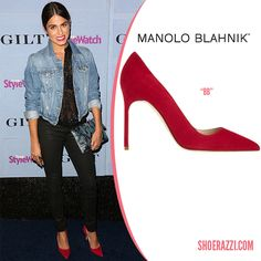 "Nikki Reed in Manolo Blahnik ""BB"" Red Suede Pumps"