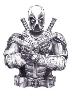 Grey Ink Deadpool Tattoo Design By MichaelCrutchfield - Comic Tips Comic Book Characters, Marvel Characters, Comic Character, Comic Books Art, Comic Art, Deadpool Tattoo, Deadpool Art, Deadpool Wallpaper, Marvel Drawings