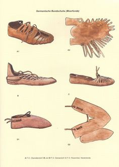 Germanic shoes based on Moor Finds (A) -F. D… Germanic shoes based on Moor Finds (A) -F. Roswinkel, The Netherlands-rough translation, Gary Freeman Viking Dress, Viking Costume, Viking Shoes, Roman Clothes, Shoe Crafts, Shoe Pattern, Renaissance Fair, Iron Age, Historical Clothing