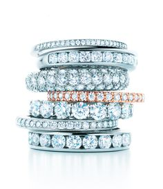 Rock bands. Tiffany rings in platinum with diamonds. #TiffanyPinterest #WeddingBands
