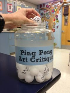 AWESOME! Ping Pong Ball Critique.  Here is a list of 30 questions that you can write on ping pong balls to make talking about art with kids more fun.