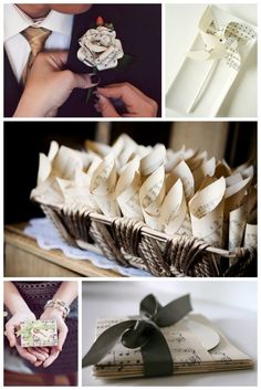great ideas for a wedding, old book pages...or sheet music...